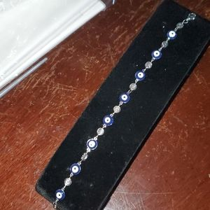 Evil eye bracelet metal/glass